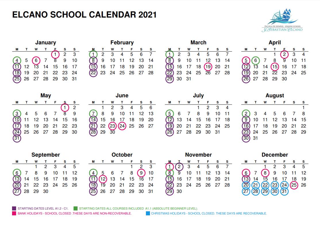 Elcano School Calendar 2021